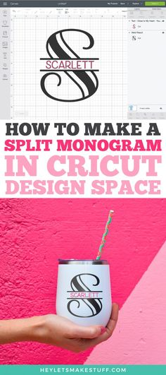 A split monogram is a classic way to personalize just about anything, from totes to tees to tumblers! This tutorial shows you how to create a split monogram in Cricut Design Space with any font—it's easy! Cricut Monogram Font, Free Monogram, Monogram Design, How To Monogram, Monogram Letters, Cricut Tutorials, Cricut Ideas, Cricut Design Studio, Monogram Machine