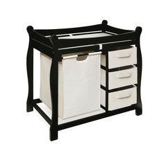 Badger Basket Changing Table with Hamper & Baskets - Black #DiaperscomNursery