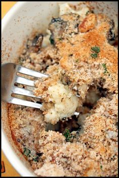 crumble de chou fleur et champignons de paris - cauliflower and button mushroom crumble