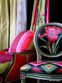Like the plush armchair, not the armless side chair. Wish I could see more of it.  Chairs with gorgeous Pink patterns