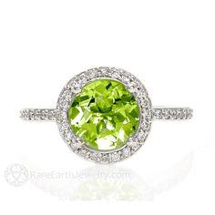 Peridot Ring Diamond Halo Peridot Engagement Ring 14K by RareEarth