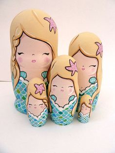 SALE Mermaid Russian Dolls  Set of 5 by PonyChopsShop on Etsy, £35.00
