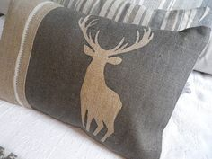 hand printed charcoal stag cushion cover by helkatdesign on Etsy, $76.00