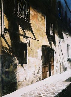 Paul Dmoch les ombres florentins - aquarelle