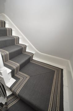 Brampton - Rhino Grey - Off The Loom Hall Flooring, Flooring For Stairs, Tiled Hallway, Hall Tiles, White Hallway, Staircase Runner, Stair Runners, Stairway Carpet, Hallway Colours