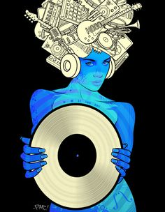 - Blue Girl Silver Vinyl - #music #artwork #records #vinyl #recordart #musicart http://www.pinterest.com/TheHitman14/for-the-record/