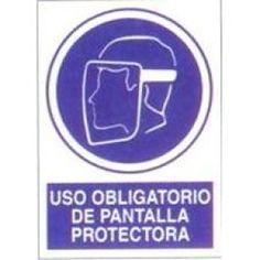 Señal Uso Obligatorio de Pantalla Protectora - http://www.janfer.com/es/obligacion/609-senal-uso-obligatorio-pantalla-protectora.html