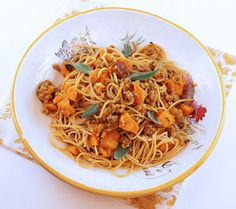 Spaghetti with Roasted Squash & Sausage - Great fall pasta dish from Italian Food Forever