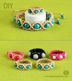 DIY Macrame Ring with Beads.