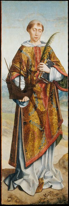 Saint Vincent of Saragossa, Patron Saint of Lisbon, late sixteenth century, Frei Carlos; the saint is pictured with his symbolic attributes: a holy book, a martyr's palm branch and a ship, symbolising the 'shipment' of his relics to Lisbon. (Metropolitan Museum of Art)