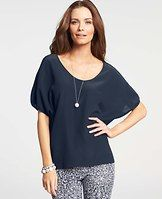 Silk Wedge Top - A summer wardrobe must, this sumptuous silk style flaunts a breezy, relaxed silhouette for the perfect mix of laid-back and luxe. Scoop neck. Short dolman sleeves with shirred cuffs.