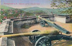 Historische Postkarte von den Kanonen auf dem Schloß Wernigerode.