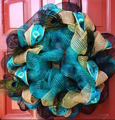 turquoise mesh wreath - Google Search
