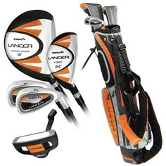 Golf Clubs - Intech Lancer Junior Golf Set LeftHanded Age 8 to 12 degree Driver Hybrid Iron Wide Sole 7 and 9 irons Junior Putter Deluxe Stand Bag Golf Games For Kids, Kids Golf Clubs, Junior Golf Clubs, Best Golf Clubs, Golf Clubs For Beginners, Golf Card Game, 8 Year Old Boy, Golf Club Sets, Golf Outfit