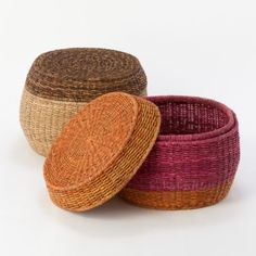 Striped Storage Pouf in House+Home HOME DÉCOR Baskets+Utility Baskets at Terrain