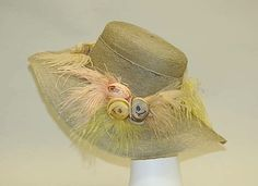 Hat  House of Lanvin  (French, founded 1889)    Designer:      Jeanne Lanvin (French, 1867–1946)  Date:      1918–25  Culture:      French  Medium:      horsehair, silk, feathers