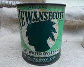 Vintage- Sewanscott Gallon Oyster Can- Whillis Wharf, Va.
