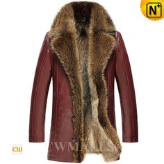 CWMALLS® Custom Mens Fur Lined Leather Coats CW836059 - Custom made fur lined leather coats for men, choose it in classic black or noble wine, made with ecological sheepskin shell and full raccoon fur lining which will keep you toasty in the cold, you can always stay stylish in this raccoon fur coat.