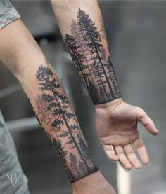 Tree Tattoo Design – Forest Ink Ideas as a Symbol of Life & Knowledge – Supermarket Riot Around Arm Tattoo, Tree Tattoo Arm, Nature Tattoo Sleeve, Forest Forearm Tattoo, Tattoo Nature, Unique Wrist Tattoos, Wrist Tattoos For Guys, Trendy Tattoos, Arm Sleeve Tattoos For Women