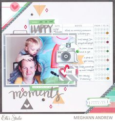 *Elle's Studio* Happy Moments - Scrapbook.com - Not all birthday layouts have to use bold bright colors. The softer palette in this layout perfectly coordinates with the photo.