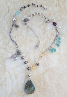 This necklace includes sterling silver wire wrapped spectrolite labradorite, peacock and tiny black freshwater pearls, citrine oval beads, apatite and green amethyst teardrop beads, garnet, lemon topaz, amethyst, apatite and rainbow and creamy moonstone rondelles.There are also various sizes and shapes of solid sterling beads. | eBay!