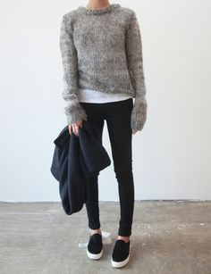 Grey knit + Dark denim + Trainers + White T | C/o www.pinterest.com/kanstrupstudios/style/