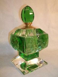 305: Huge Emerald Green Crystal Perfume : Lot 305