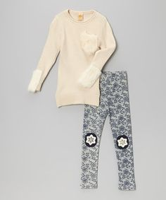 Look what I found on #zulily! Crème Wool Tunic & Navy Snowflake Leggings - Toddler by Mia Belle Baby #zulilyfinds