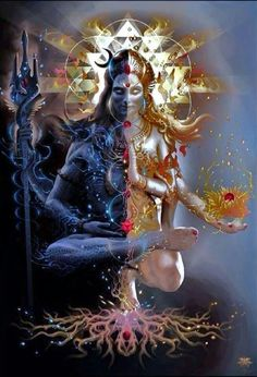 Ardhanarishvara Shiva and Shakti united. Uniting and Integrating the opposite polarities is the aim of all spiritual paths = Harmony. Shiva is on the right side. This is the Pinga… Shiva Shakti, Kali Shiva, Arte Shiva, Shiva Art, Lord Shiva, Lord Vishnu, Hindu Kunst, Hindu Art, Shiva Wallpaper