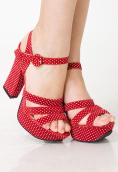 Retro Dots Heel Sansals in Rose - sale - Retro, Indie and Unique Fashionvintage shoes