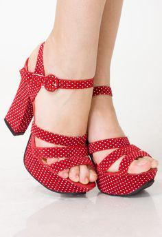 Retro Dots Heel Sansals in Rose - sale - Retro, Indie and Unique Fashionvintage shoes
