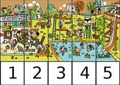 puzle de numeros 1-5 EN LA PISCINA Puzzles, Montessori, Comics, Labyrinths, Counting, Educational Activities, Fine Motor, Special Education, Preschool