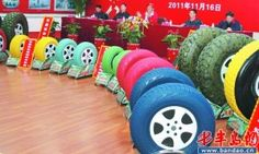 Colored Car Tires from China Look Wheel Strange - Attic Lift, Garage Attic, Colored Tires, New Inventions, World Of Color, Over The Rainbow, My Ride, Used Cars, Colorful Shirts