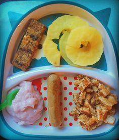 Breakfast: #wholewheattoast with #nonutspeanutbutter #steamedapples #strawberrycoconutyogurt #yvesbreakfastsausage #oatbar  The breakfast sausage is vegan. Its possible to add protein to your little ones diet that is not meat.  The oat bar (which she threw on the floor is Love Child oaty chomps. Blueberry and carrot. It has fibre and some protein as well. They are organic and GMO free with no added salt or sugar.  #blw #babyledweaning #12monthsold #april2016 #toddlerfood #breakfast #food…