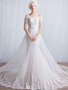 Élégant Sirène Robes De Mariage 2016 De L'épaule Appliques Paillettes Dentelle Longue Robe De Mariée Avec Des Manches Courtes