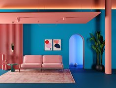 Today, we get some inspiration from Masquespacio and their stunning colorful interior design projects to get you the memphis design inspired living room you've Retro Interior Design, Home Interior, Interior Design Inspiration, Interior Architecture, Interior And Exterior, Pastel Interior, Country Interior, Contemporary Interior Design, Memphis Design