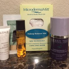 NEW Luxury Skincare Bundle Luxury Skincare bundle, all brand new and unused. Comes with: MicrodermaMitt Makeup Remover Mitt, Michael Todd True Organics Concentrated C Antioxidant Moisturizing Serum 1oz, Caudalie Deluxe Skincare Sample trio that includes Divine Oil .5oz, Vinoperfect Radiance Serum .33oz, and Instant Detox Mask .1oz Other