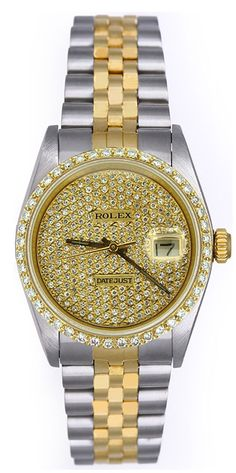 Rolex Midsize Datejust 18kt & Steel Pave Diamond Dial / Bezel ! Mint !  #Rolex