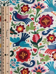 La Paloma Tea | Bird Fabric | Folklorico | Mexican | Floral | Folk Art | Off White | Large Print | Spanish | Alexander Henry