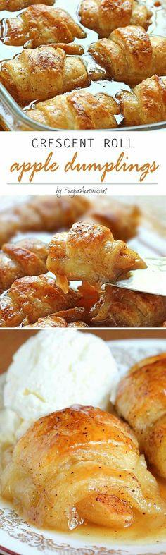 Crescent roll apple dumplings Apple Crescent Rolls, Crescent Roll Apple Dumplings, Cresent Rolls, Easy Apple Dumplings, Crescent Dough, Desserts For A Crowd, Mini Desserts, Brownie Desserts, Apple Desserts