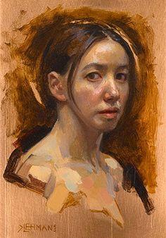 """Self Portrait"" - Kate Lehman, oil on copper, 2005 {figurative #expressionist artist female head grunge woman face painting} katelehman.net"