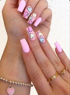 Pink Acrylic Nail Designs, Valentine's Day Nail Designs, Pink Nail Art, Pink Acrylic Nails, Gel Nails, Nail Polish, Nails Design, Tumblr Acrylic Nails, Pastel Nails