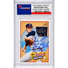 Nolan Ryan Los Angeles Angels Fanatics Authentic Autographed 1990 Upper Deck Baseball Heroes #12 Card with Multiple Inscriptions - $154.99
