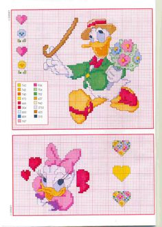 Disney Donald Duck Valentine's Day date cross stitch