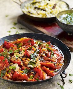 "Tomato curry with black mustard seeds. Debbie Major says,""This curry makes a wonderful vegetarian main course or side dish for any meat or fish curry. Tasty Vegetarian Recipes, Vegetarian Curry, Spicy Recipes, Curry Recipes, Indian Food Recipes, Cooking Recipes, Healthy Recipes, Croatian Recipes, Hungarian Recipes"