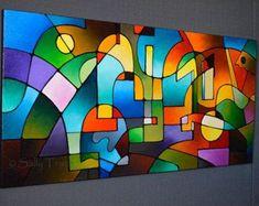 Abstrakte Malerei Glasmalerei Baum malen Baum von SallyTraceFineArt