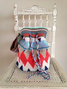 Draad en praat: tapestry gehaakte tas geen patroon, no pattern