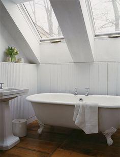 modern renovation attic white bathroom design
