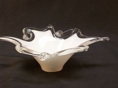 Vintage White Cased Murano Glass Bowl Free Form Silver Crest by GarageSaleGlass, $24.99