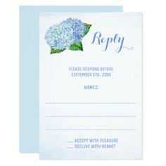Blue Hydrangeas Watercolor Wedding Reply Cards - wedding invitations diy cyo special idea personalize card